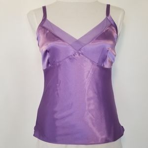 1180 NWOT George Stretch Lilac Satin/Sheer Top S